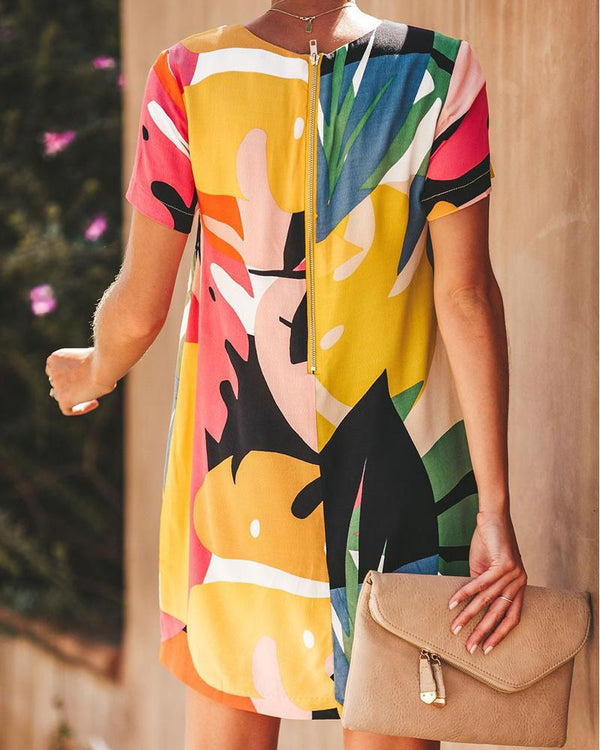 Round Neck Color Blocking Printed Dress