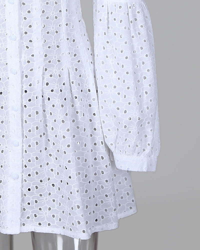Tight Waist Ruched Eyelet Embroidery Lace Dress