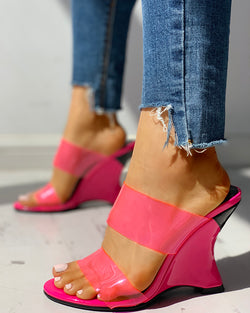 Transparent Open Toe Wedge Sandals