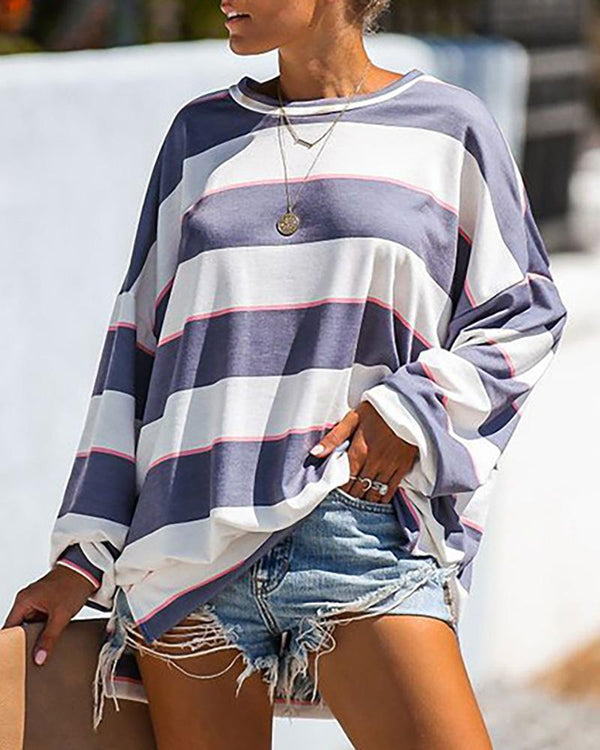 Long Sleeve Contrast Color Striped Sweatshirt