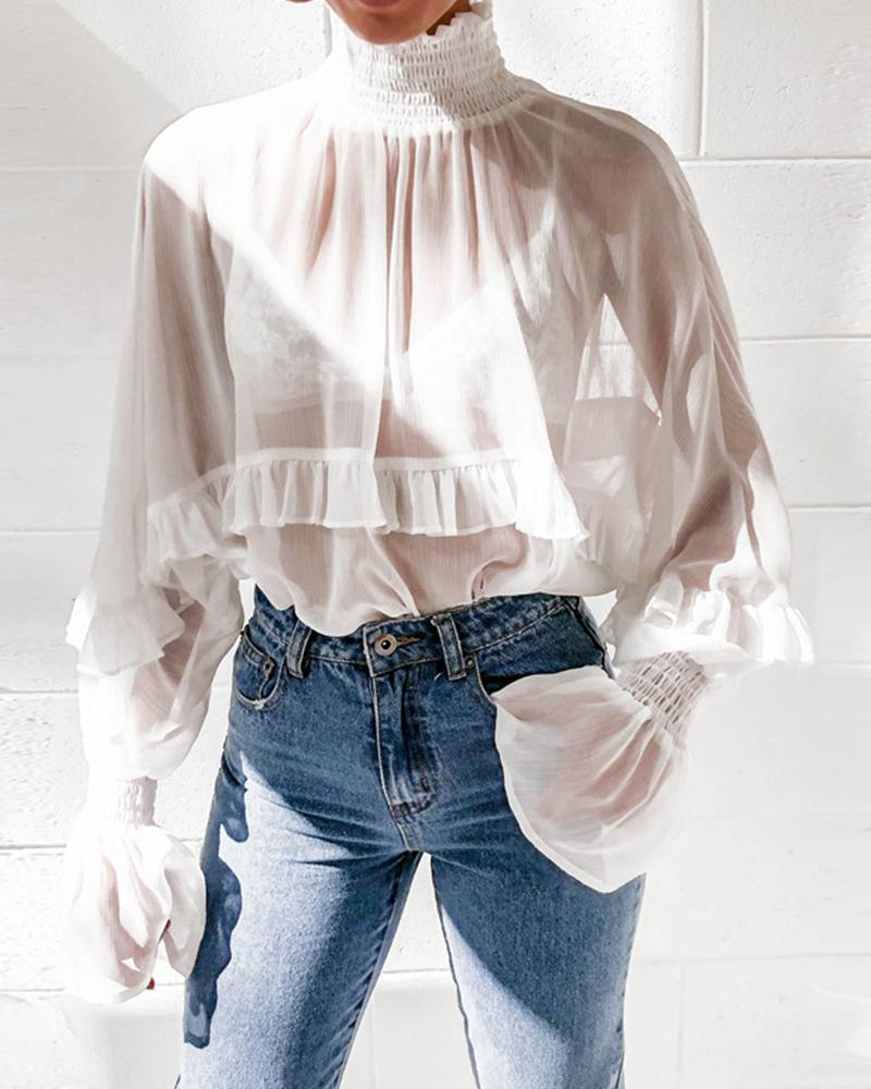 Mock Neck Sheer Chiffon Tops