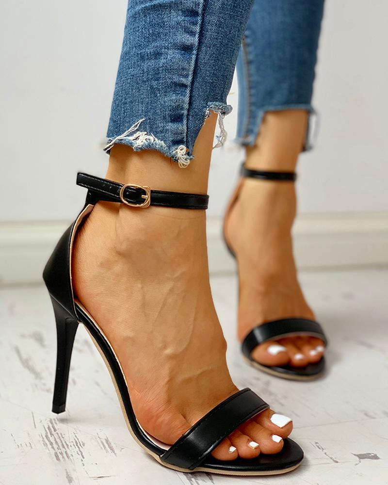 Open Toe Ankle Buckled Stiletto Heeled Sandals