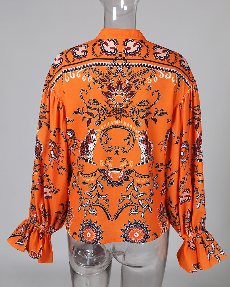 Colorful Print Long Sleeve Buttoned Casual Blouse