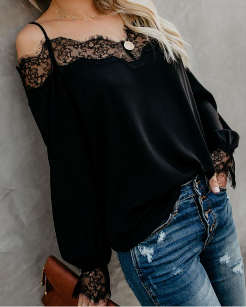 Eyelash Lace Cold Shoulder Blouse