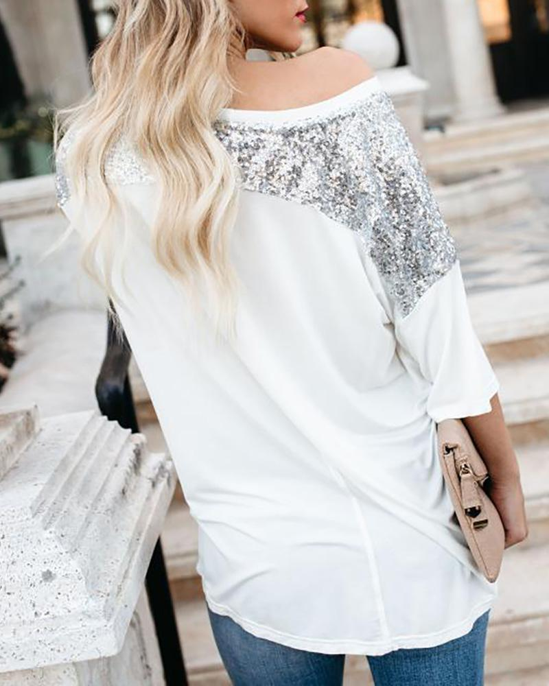 Contrast Sequins Patch Casual T-Shirt