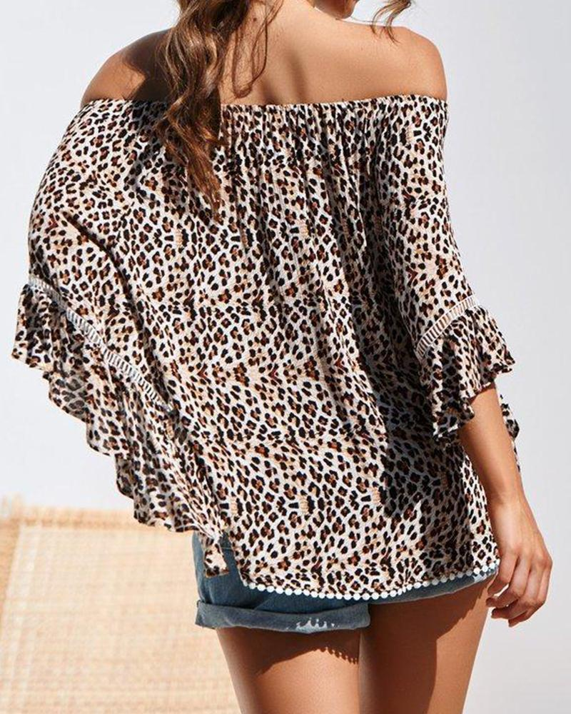 Summer new word collar leopard print trumpet sleeve lace top