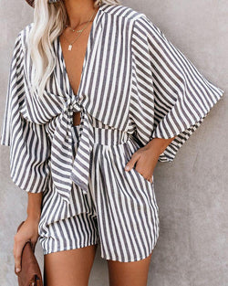 Casual striped print wide cuff V-neck tie bandwidth loose jumpsuit