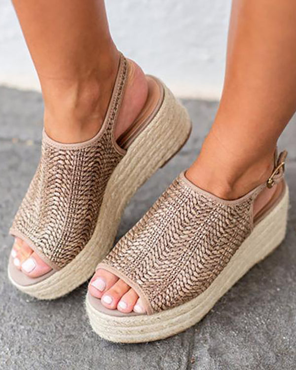 Peep Toe Braided Espadrille Platform Sandals