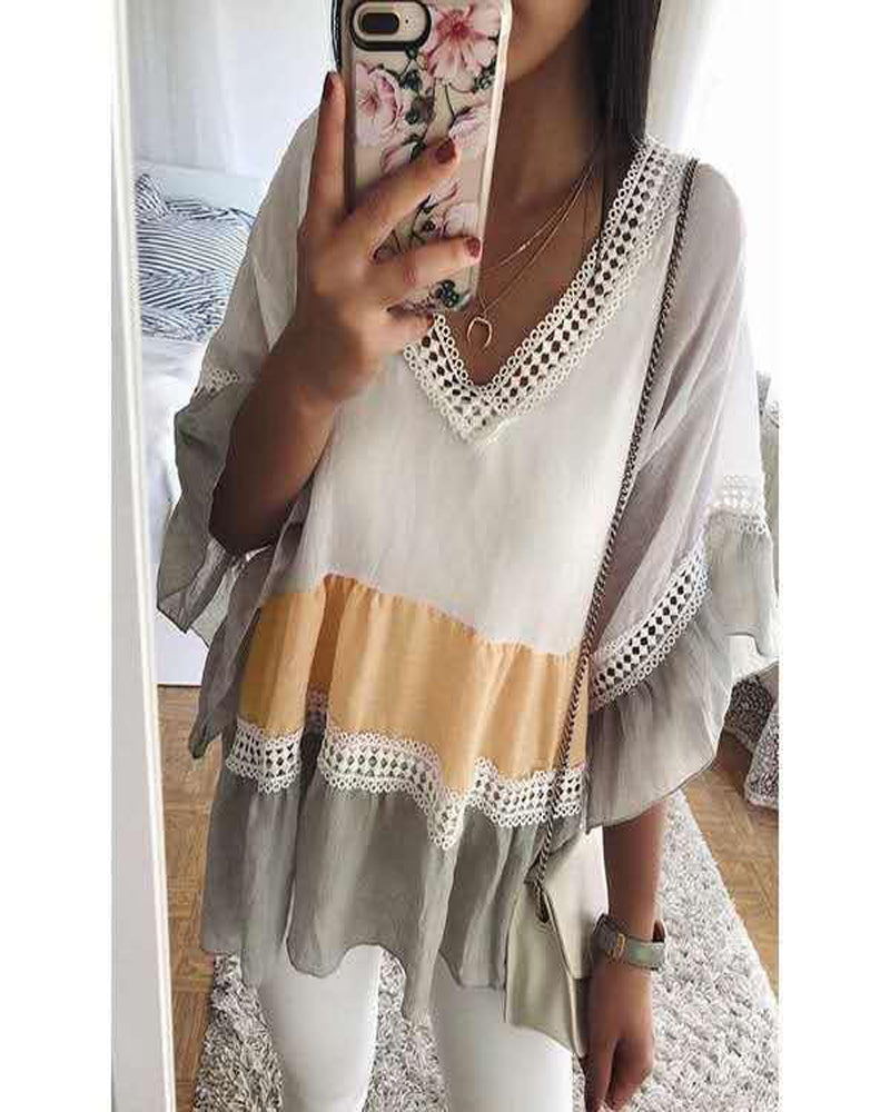 V-neck Loose Flare Sleeve Stitching Lace Top