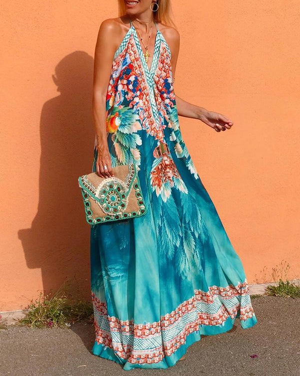 Halterneck Floral Print Backless Maxi Dress