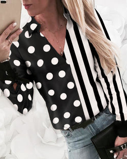 Striped Dot Print Insert Casual Shirt