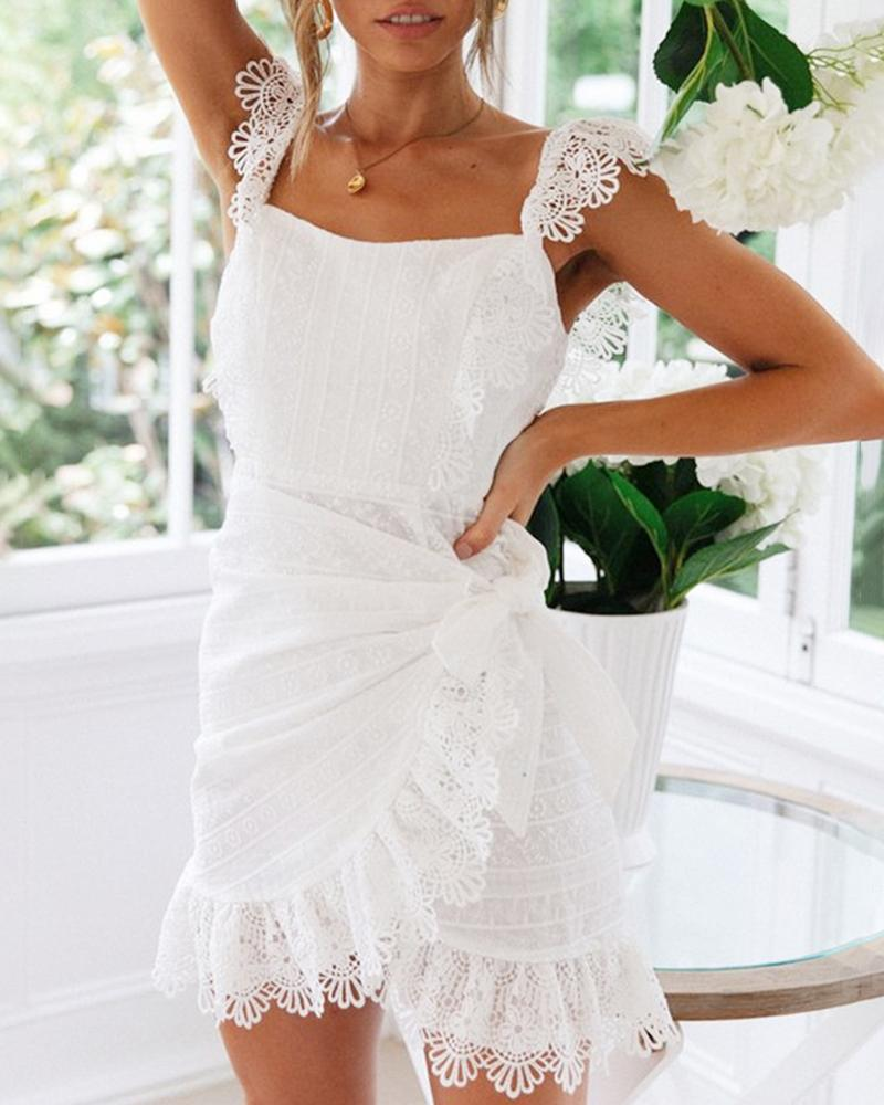 Solid Eyelet Embroidery Guipure Lace Dress