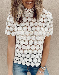 Hollow Out See-through Lace Top