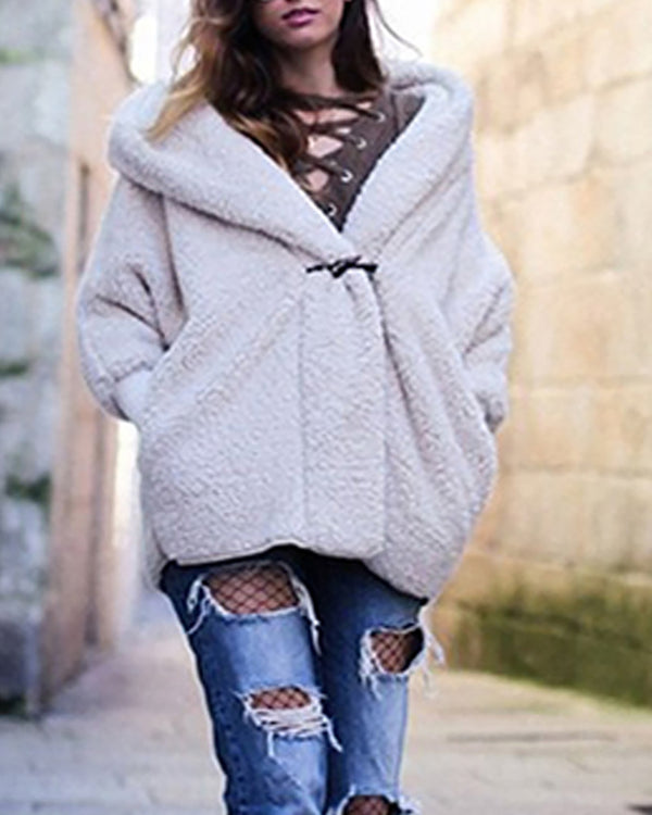 Solid Long Sleeve Casual Fluffy Teddy Coat