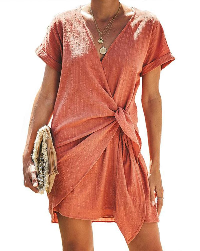 Short Sleeve V-neck Wrap Knot Side Casual Dress