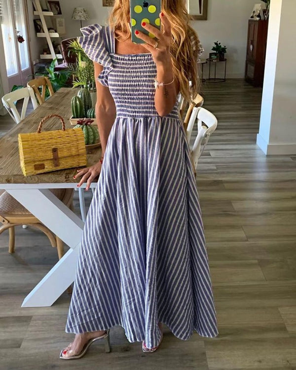 Striped Flutter Sleeve Shirring Maxi Dress