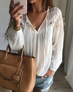 Solid Hollow Out Lace Trim Long Sleeve Blouse
