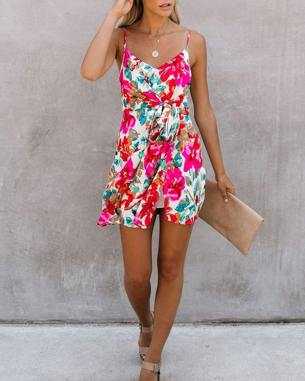Floral Print Knotted Mini Camisole Dress