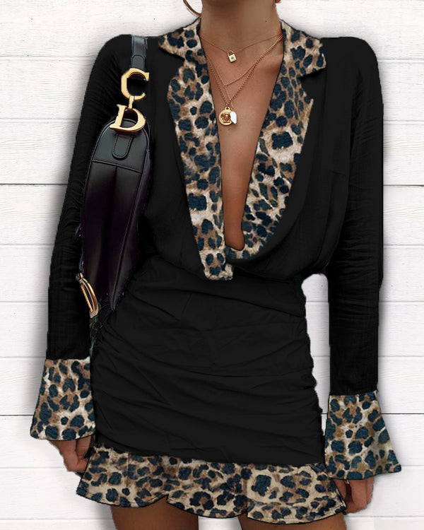 Plunge Leopard Print Insert Mini Dress