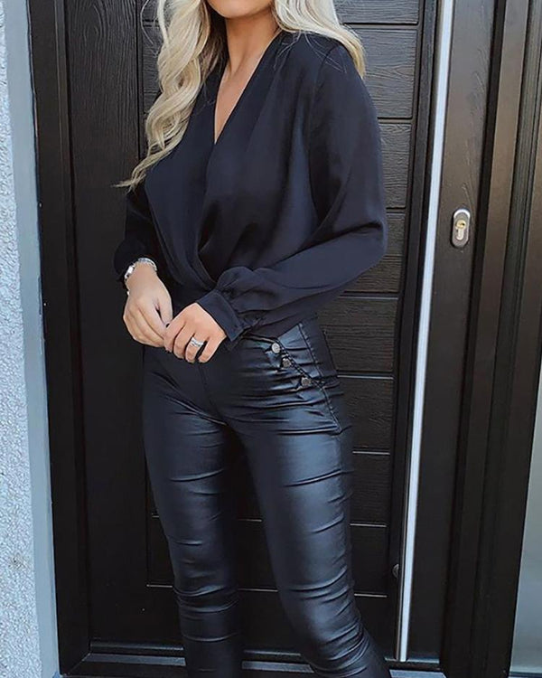 High Waist Button Detail PU Pants