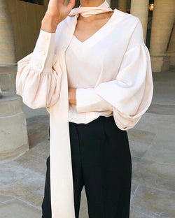 V Neck Scarf Design Bishop Sleeve Blouse