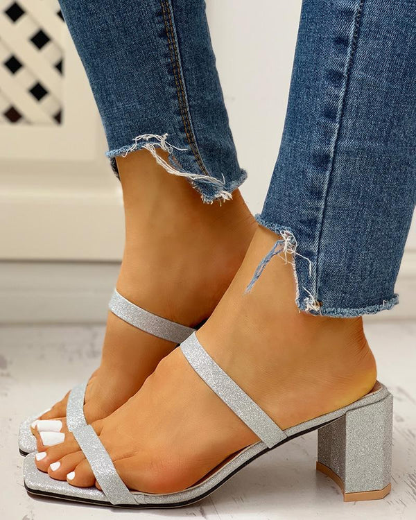 Solid Slingback Thin Strap Chunky Heeled Sandals