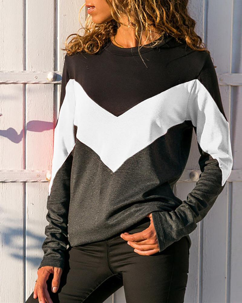 Colorblock Insert Round Neck T-shirt