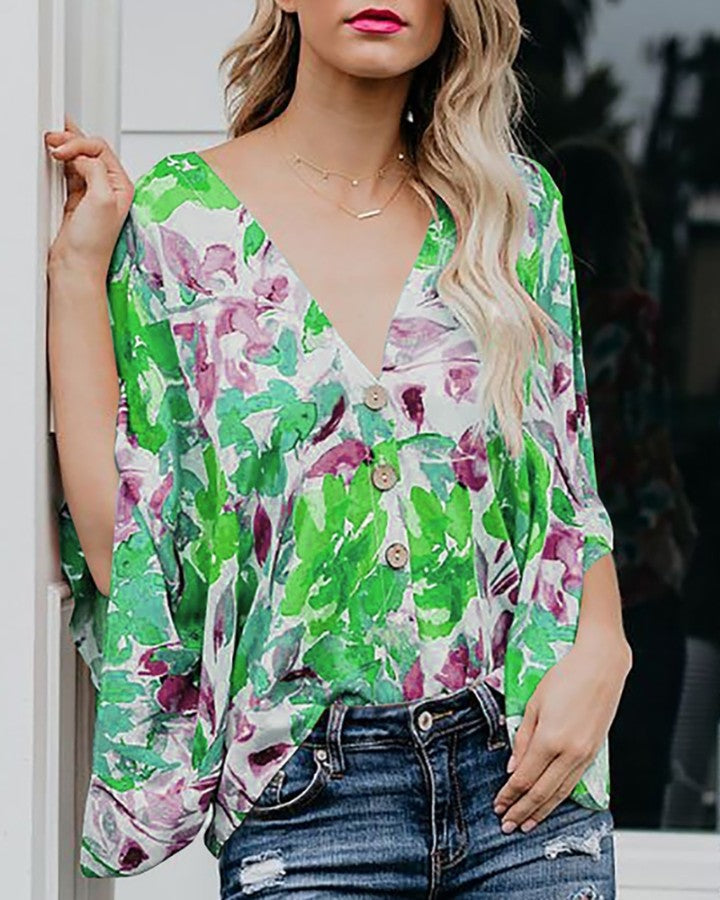 Tropical Print Batwing Sleeve Casual Blouse