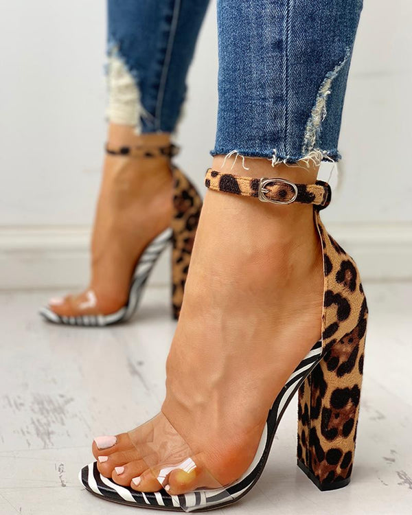Leopard Transparent Chunky Heeled Sandals