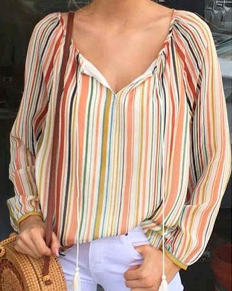 Loose V-neck Holiday Striped Top