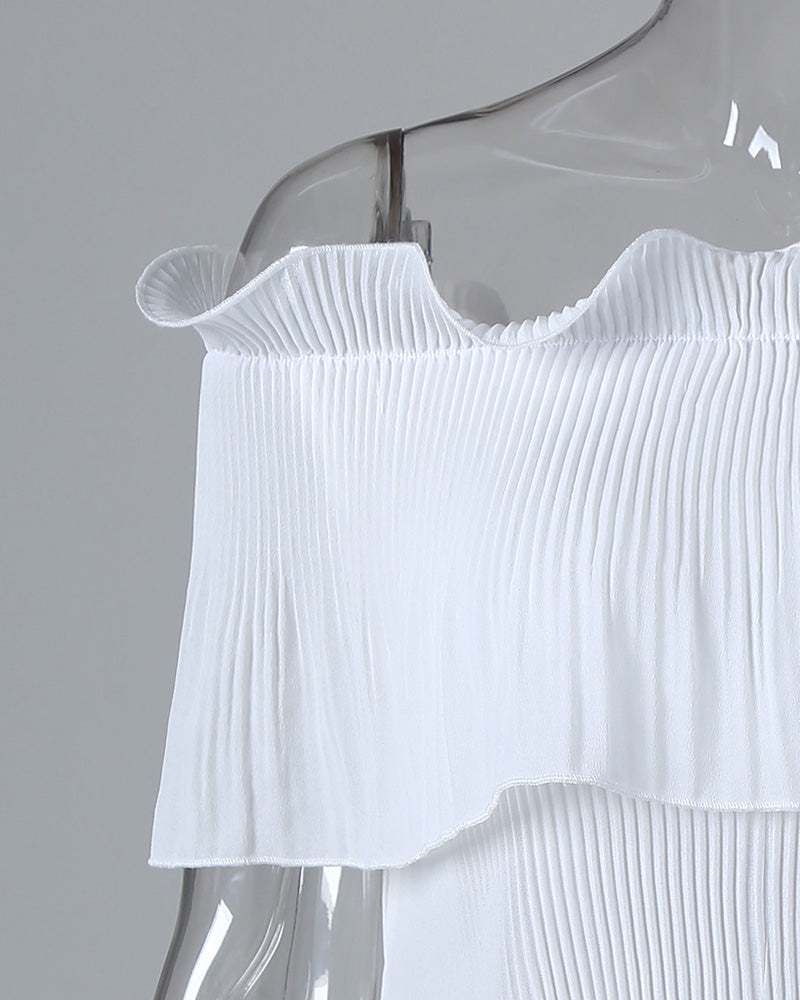 Solid Off Shoulder Ruffles Blouse