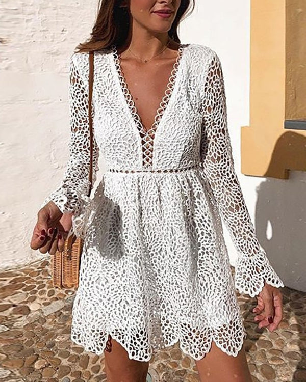Plunge Hollow Out Bell Sleeve Lace Dress