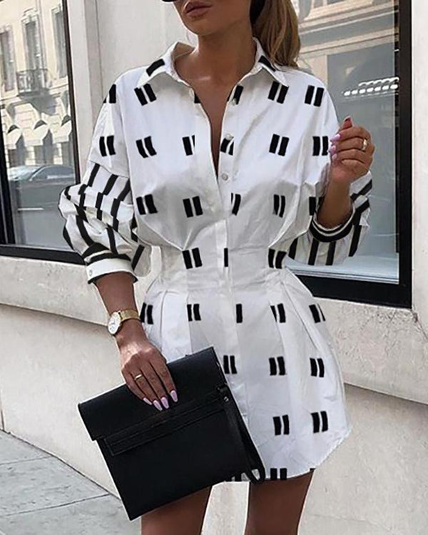 Striped Print Half Sleeve Casual Shirt Dress