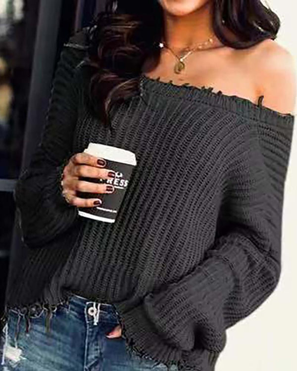 Solid Long Sleeve Ribbed Casual Sweater