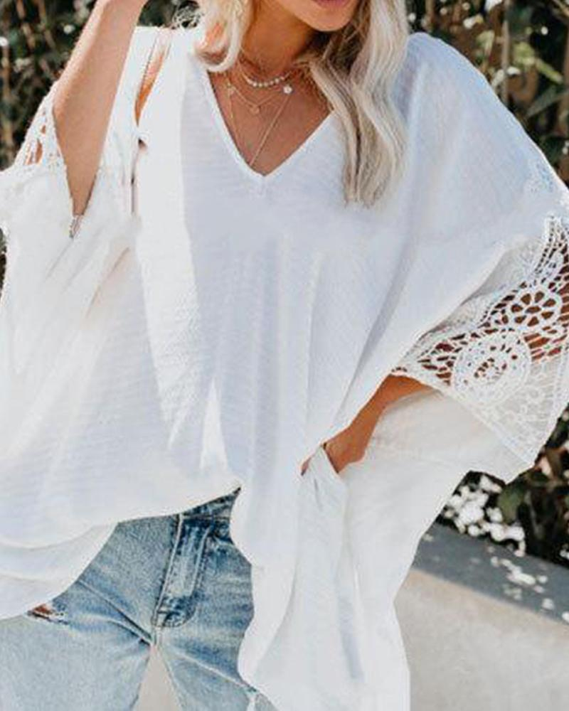 2019 women's lace sleeves front and rear V-neck cropped sleeve T-shirt