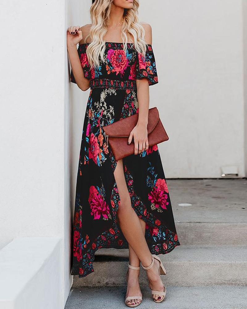 One-shoulder Wrapped Banquet Print Maxi Dress
