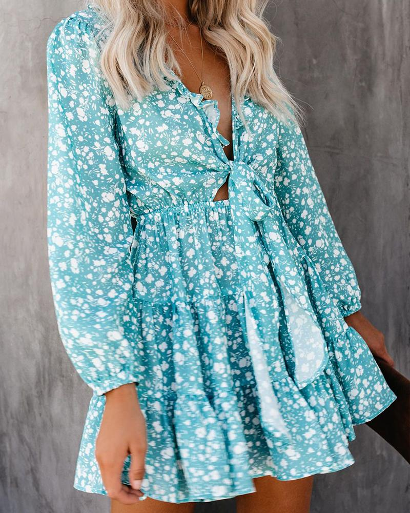 Fashion V-Neck Small Floral Print Long-Sleeved Dress