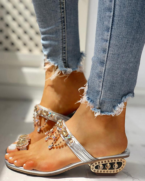 Studded Detail Toe Ring Casual Sandals