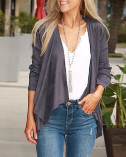 Solid Long Sleeve Open Front Casual Coat