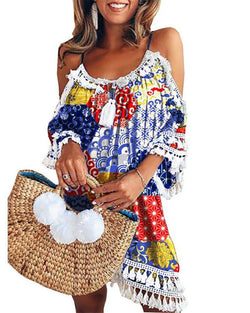 Fringed off shoulder women's mini dress