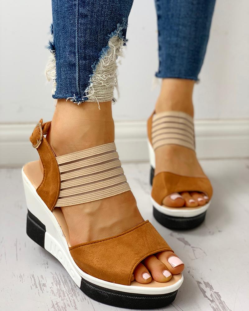 Suede Elastic Mesh Wedge Sandals
