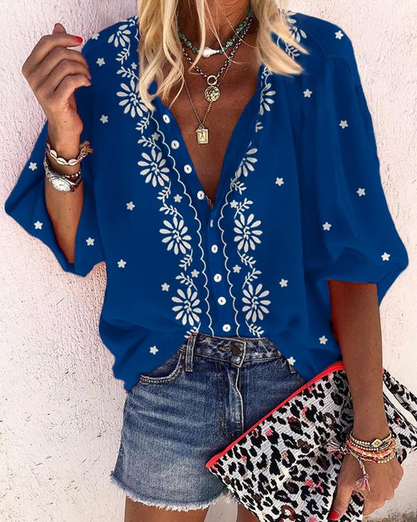 Floral Print V-Neck Casual Blouse