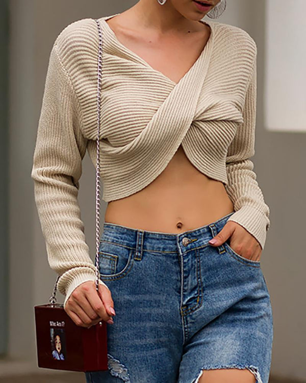 Solid Crisscross V Neck Crop Sweater