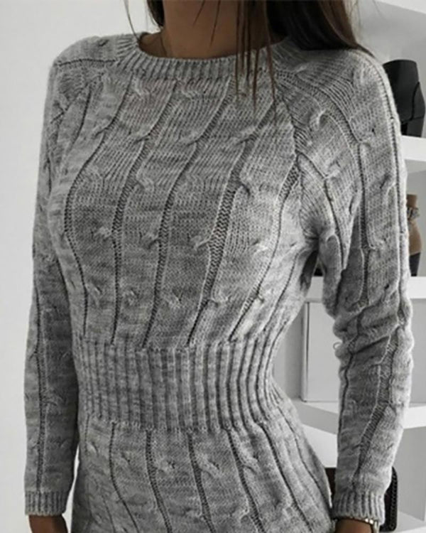 Solid Long Sleeve Tight Waist Sweater Dress
