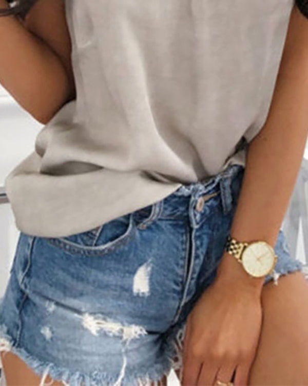 Destroyed Denim Tight Hot Shorts