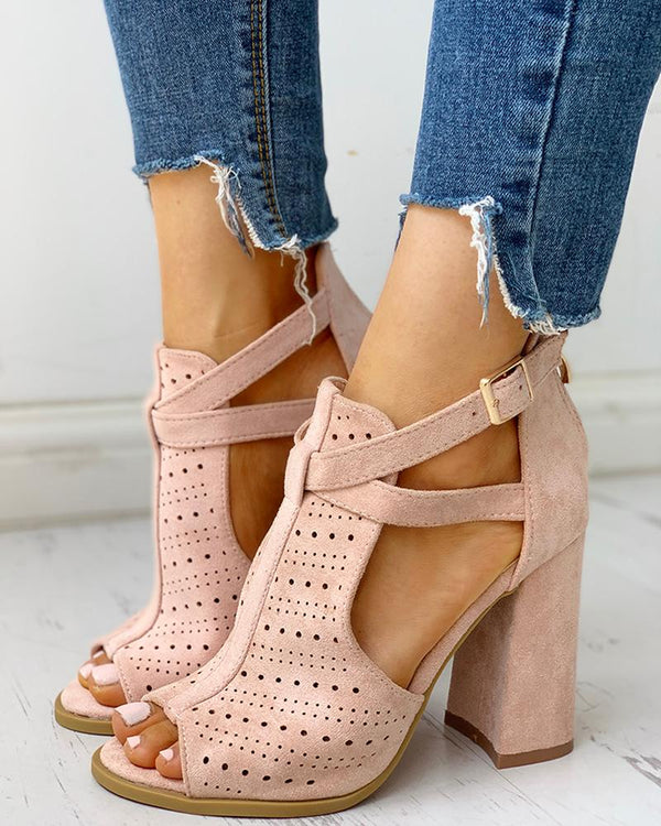 Peep Toe Hollow Out Chunky Heels