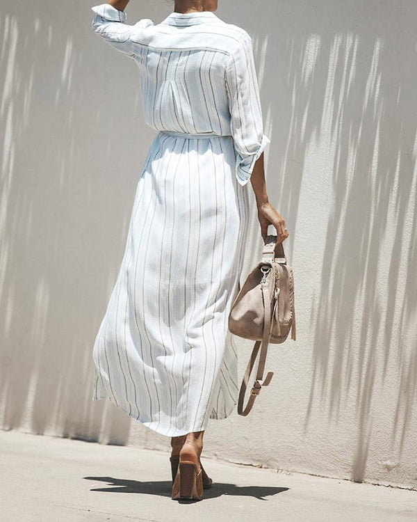 Striped Waist tie Maxi Dress