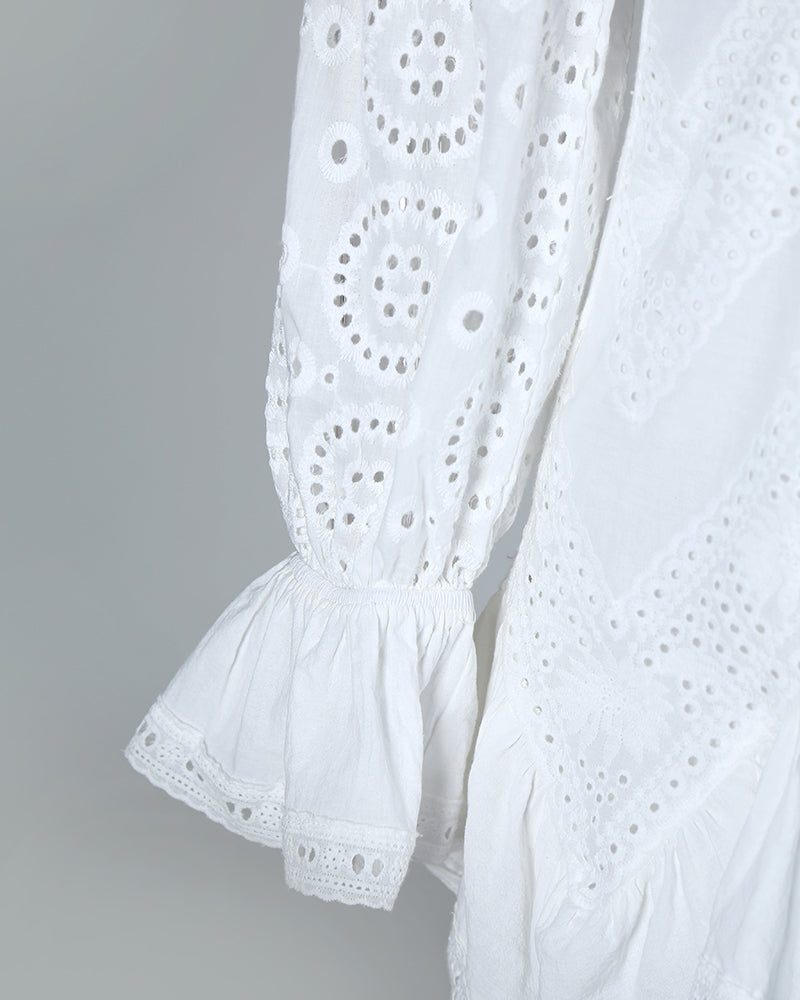 Eyelet Embroidery Ruffles Lace-Up Detail Dress