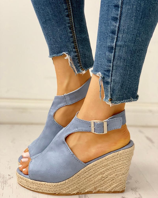 Peep Toe Slingback Espadrille Wedge Sandals