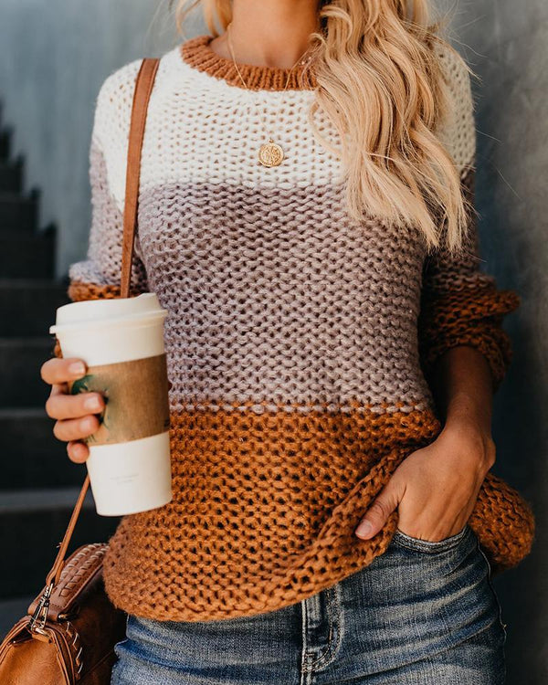 Colorblock Insert Knitted Casual Sweater